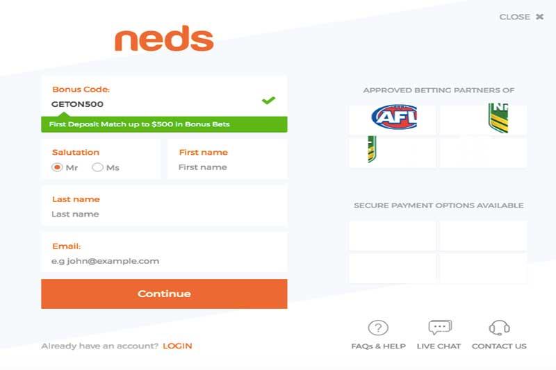 Neds bonus code